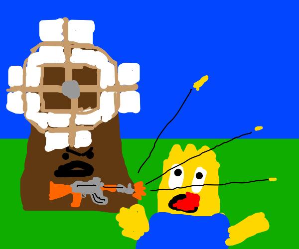 Windmill attacks Bart Simpson