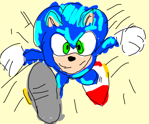 Sonic running 100mph directly st you