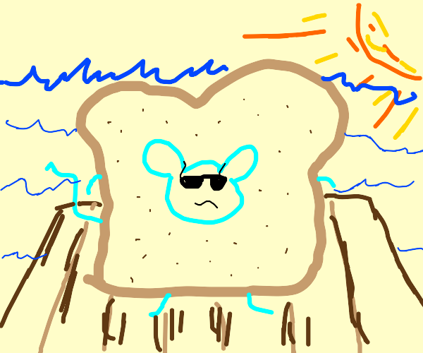 Mouse wearing bread