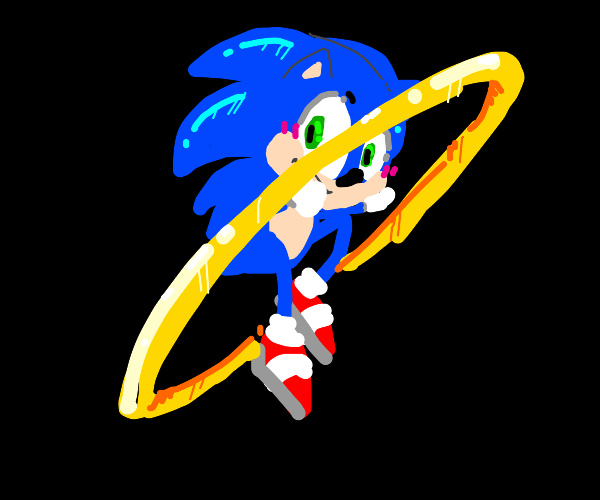 sonic jumps into a ring