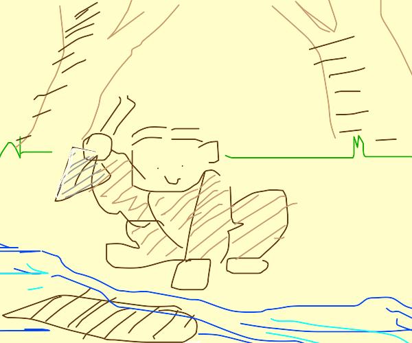 Ape digging into a River