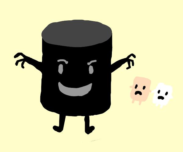 evil black marshmallow