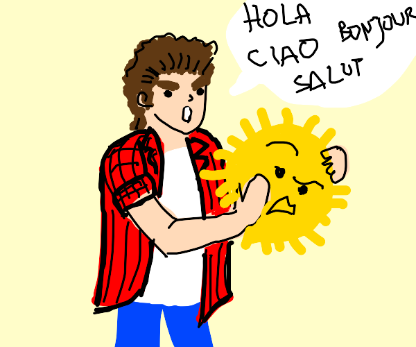 man holding the sun speaking foreign language
