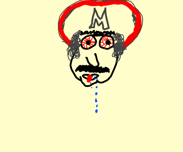 cracked out Mario