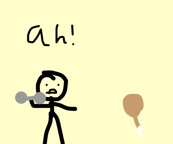 Weight lifting man is terrified of drumstick
