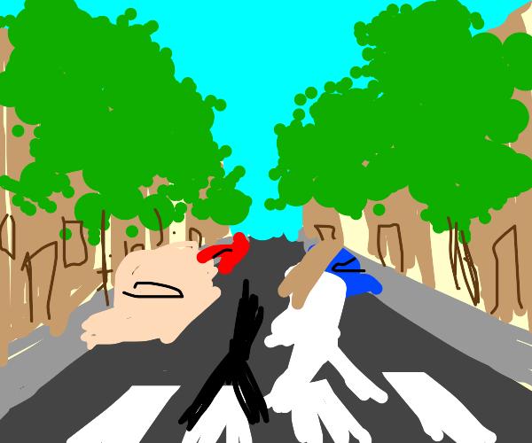 3 dudes crossing abbey road
