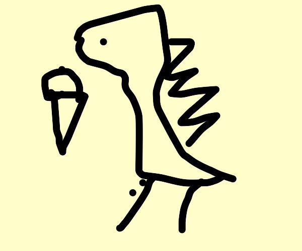 Godzilla eating a Sundae