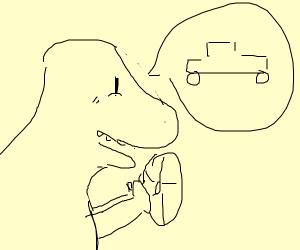 T-Rex imagining a Car