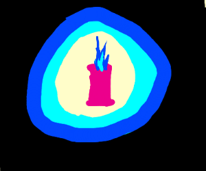a pink candle in a dark room with blue light