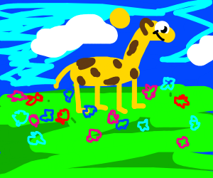 giraffe surrounded by flowers