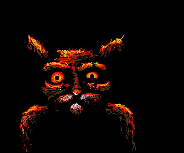 Crack head demon animal with eyes