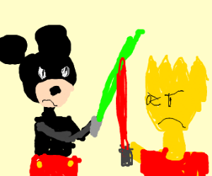 Jedi Mickey Mouse Vs. Sith Bart Simpson