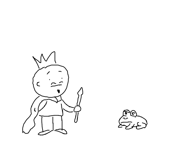 king meets frog