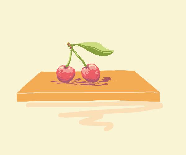 A lovely cherry on a shelf