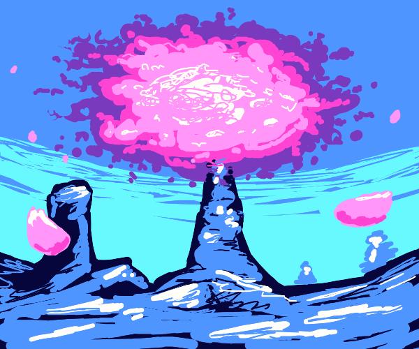 Cherry blossom scene that belongs in an anime
