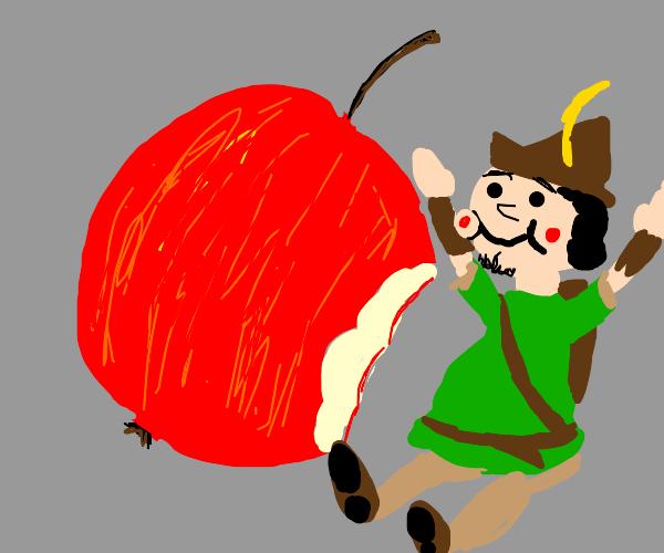 Robin Hood eats apple