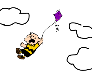 Charlie Brown is flown into the ski via kite