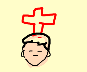 a red cross sticking out of a dudes head