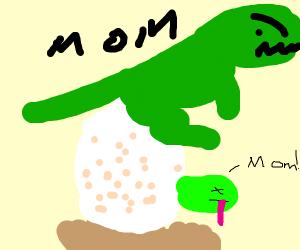 Mama dino cares for newborn