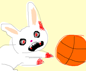 scary bunny playing basketball