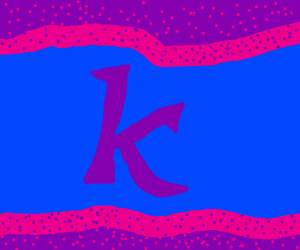 Letter k (lower case) swimming in blu and pur