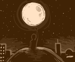 A Man on a Hill Pointing at the Moon