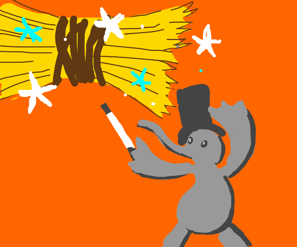 wizard elephant lifts hay with magic