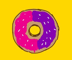 Pink and purple doughnut
