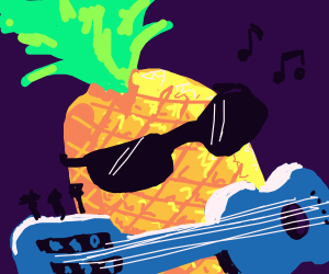 tropical cool ananas playing the guitar