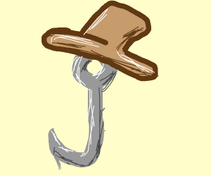 A hook with a hat on