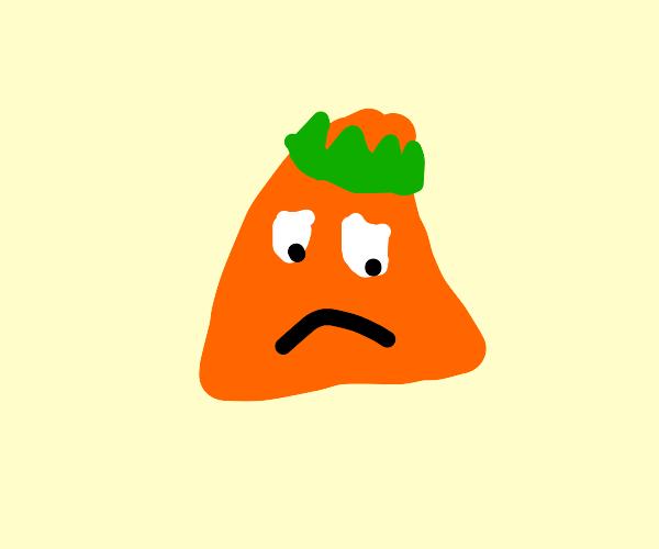 sad dorito with green crown
