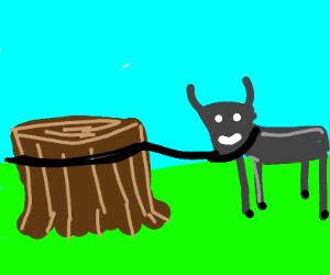 Goat on a tree stump