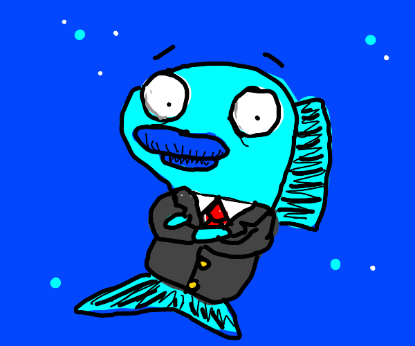 Blue fish in business suit.