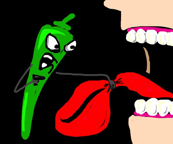 hot pepper pulls a gun on your tongue