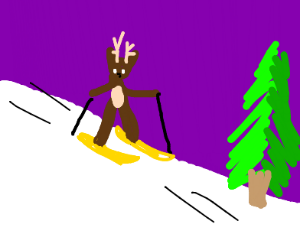 reindeer skiing down mountain