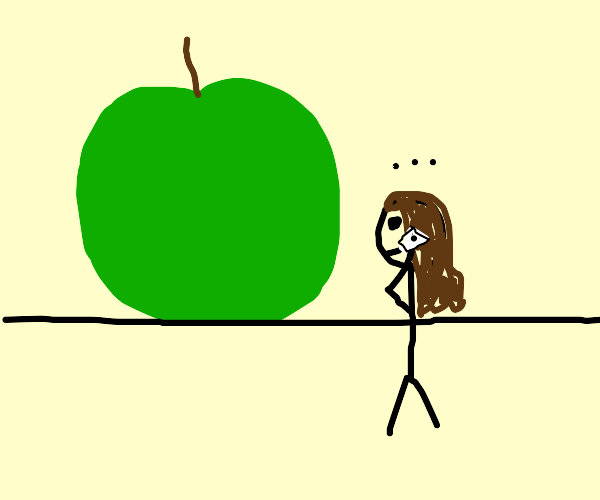 Lady on the phone in front of an apple