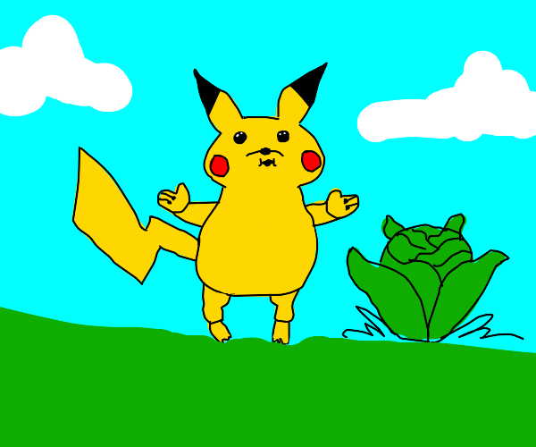Pikachu as a cabbage pack kid