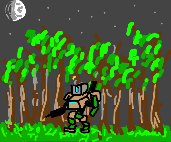 cute little robot lost in the woods