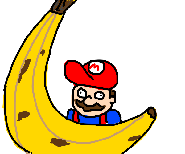 A derpish Mario standing behind a banana.