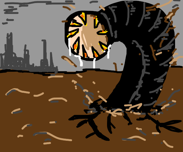 Black giant worm emerge from soil, mouth blo