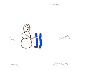 Snowman building a man