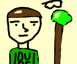 A guy, a cloud, and a tree