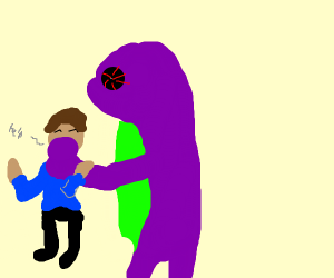evil barney holding a childs head