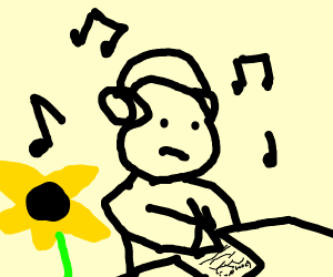 person writing and listening to music
