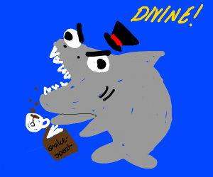 british shark reading (shark has a tophat)