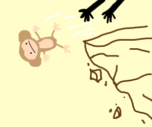 Yeeting a monkey off a cliff