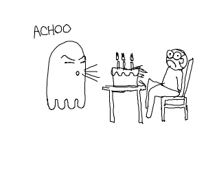 Ghost sneezes on a birthday cake