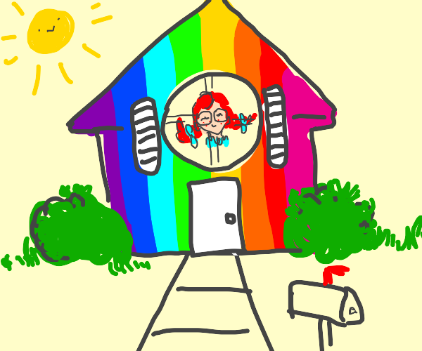 wendy's with glasses in multicolored house