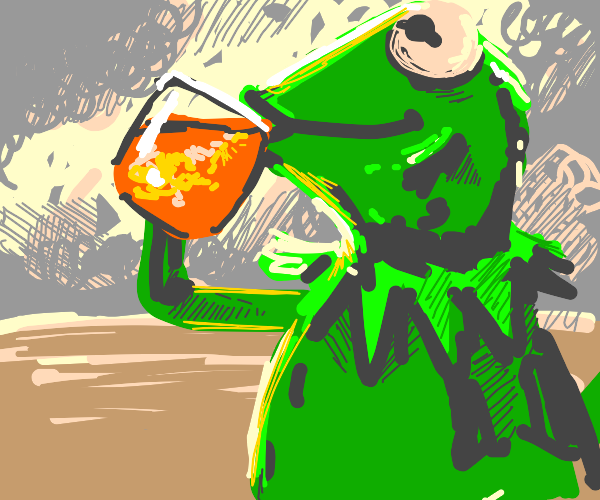 kermit drinking tea