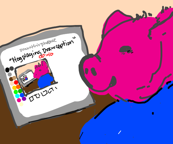 Pig playing Drawception